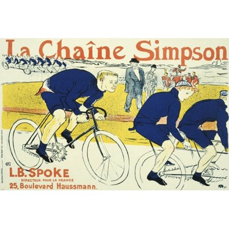 Vintage French La Chaine Simpson Bicycling Poster 24X36