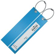 Shacke Luggage Tags with Long Bendable Rubber Design w/ Steel Loops - Set of 2 (Green)