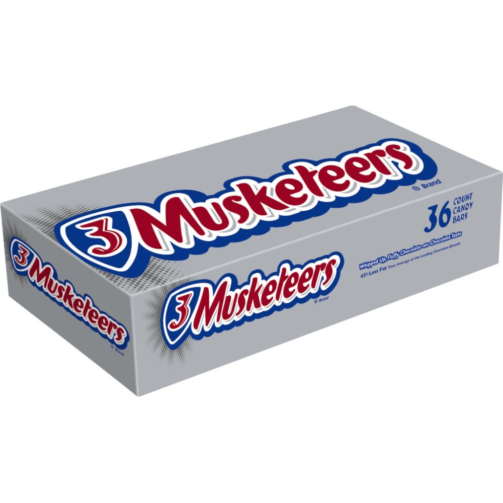 3 MUSKETEERS Chocolate Full Size Chocolate Bars Candy Box, 1.92 oz 36 Pack