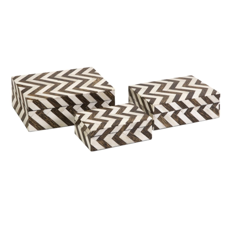 "Set of 3 White Bone Inlay & Brown Chevron Pattern Decorative Storage Boxes 8.5"""