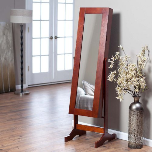 Modern Jewelry Armoire Cheval Mirror - Cherry