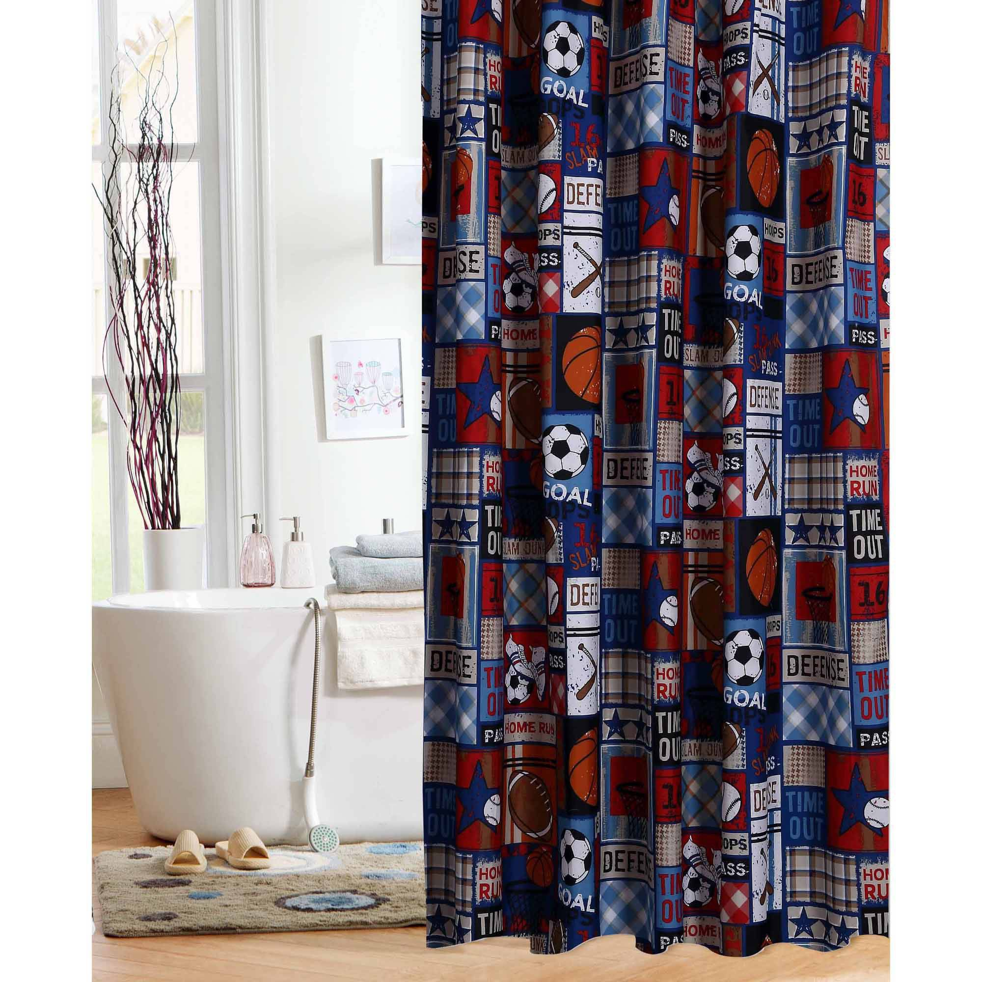 Marvel shower curtain - Mainstays Kids Sports Patch Shower Curtain