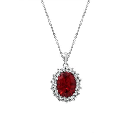 Estate Platinum Ruby - Gemour Platinum Plated Sterling Silver created Ruby with Swarovski accent Pendant Necklace, 18