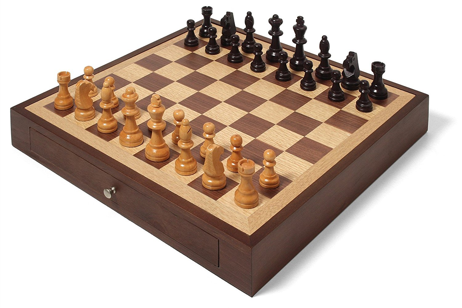 Collector's Edition Chess Set with Walnut & Oak Finish by Swing Design
