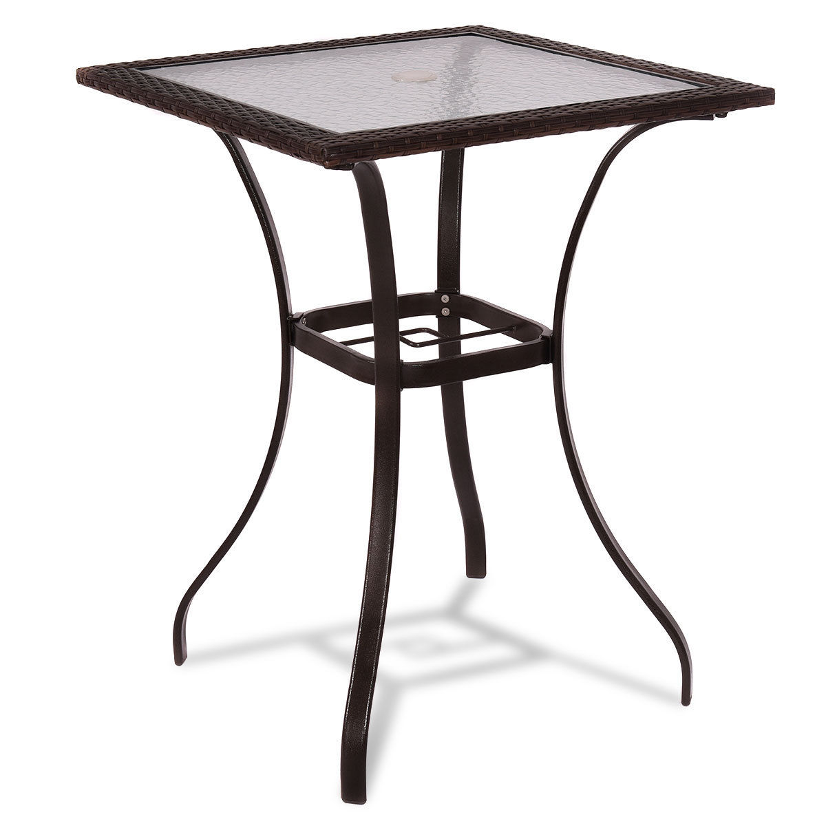 Costway Outdoor Patio Rattan Wicker Bar Square Table Glass ...