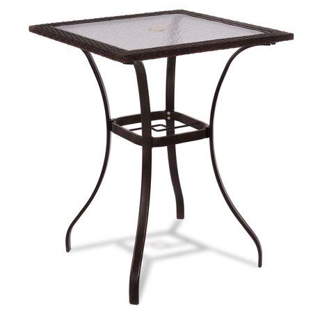 Costway Outdoor Patio Rattan Wicker Bar Square Table Glass Top Yard Garden Furniture NEW