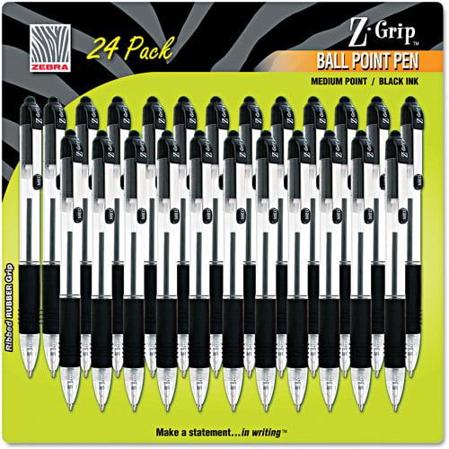 Zebra Z-Grip Retractable Ballpoint Pen, Black Ink, Medium, 24 per Pack
