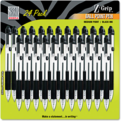 Zebra Z-Grip Retractable Ballpoint Pen, Black Ink, Medium, 24 per Pack