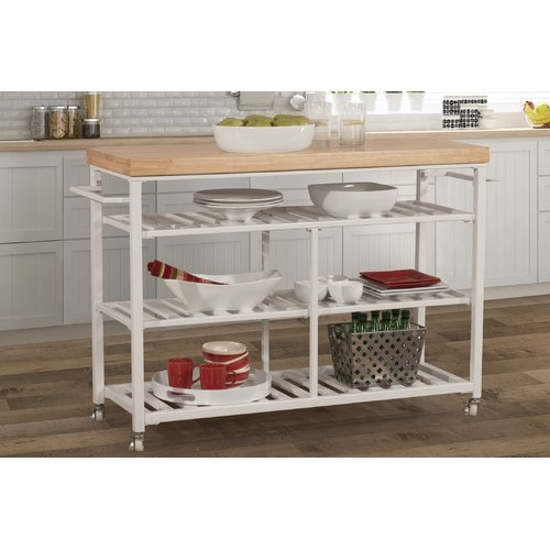 August Grove Geary Kitchen Island with Solid Wood Top