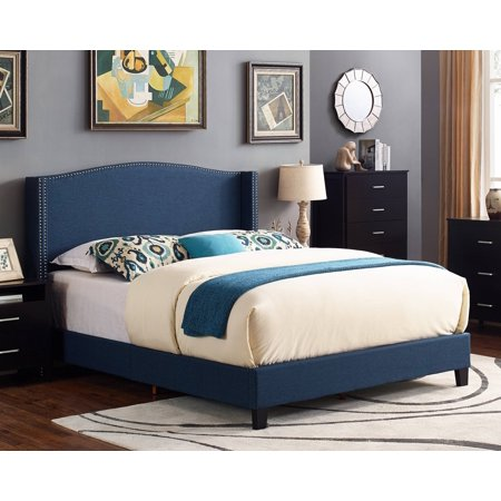 Scarlett Upholstered Wingback Bed, Multiple Sizes and Colors ()
