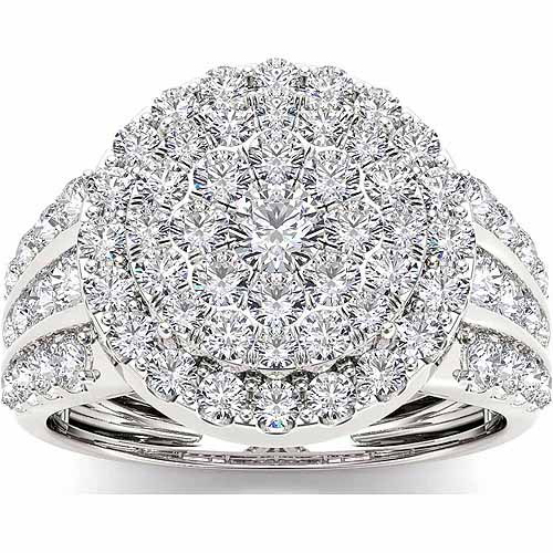 Imperial 2 Carat T.W. Diamond Cluster 10kt White Gold Engagement Ring