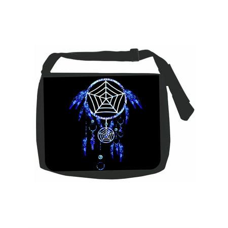 Blue Dreamcatcher - Girls Black Laptop Shoulder Messenger Bag and Small Wire Accessories Case Set ()