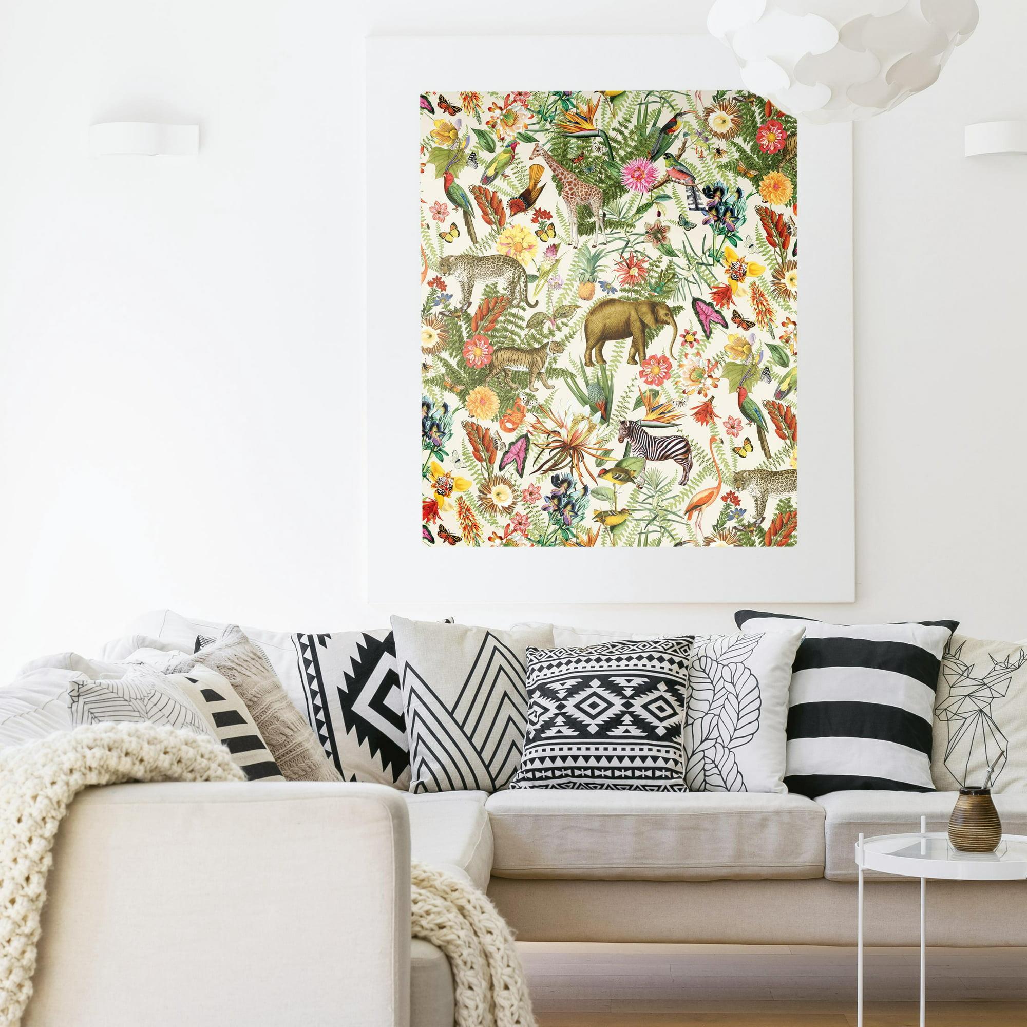 Roommates Tropical Zoo Peel And Stick Wallpaper Walmart Com Walmart Com