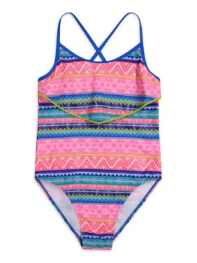 Tommy Bahama Printed One-Piece Swimsuit with Ruffle Top Girls 7-16
