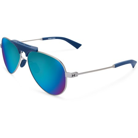 Under Armour UA Getaway Aviator Sunglasses, Silver Blue, 58 (Under Armour Golf Sunglasses)