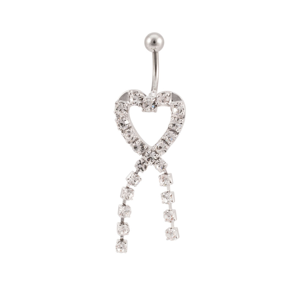 14 Gauge Jeweled Heart Knot CZ Gem Banana Barbell Navel Belly Ring, CLEAR