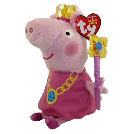 "6"" TY Beanie Peppa Pig w/ Crown Plush Animal Stuffed Toy MWMT"