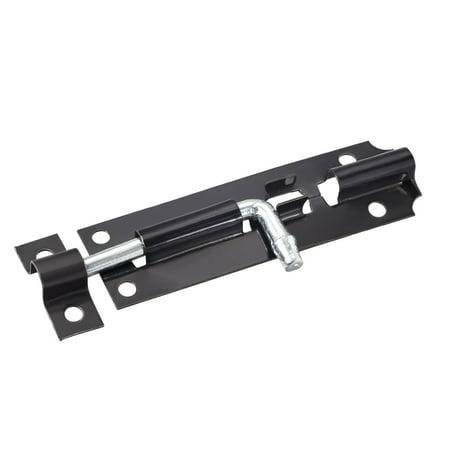 Door Slide Latch Lock, 4-inch Iron Security Barrel Bolt in Black, 1