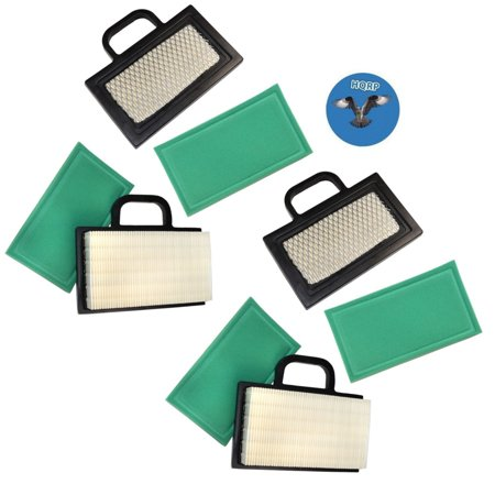 Image of HQRP 4-pack Air Filter Kit (Cartridge w/ Pre-cleaner) for John Deere Sabre Scotts 1846HMS 2046HV S2046 S2546 S2548 Z425 L2048 (2002) L2548 (2002) Lawn Tractor + HQRP Coaster