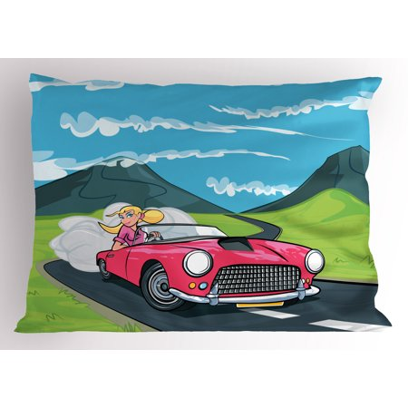 Cars Pillow Sham Blonde Girl Driving a Sports Car Through the Country in Cartoon Style Travel Road Trip, Decorative Standard Queen Size Printed Pillowcase, 30 X 20 Inches, Multicolor, by (Best Sports Car For Road Trip)