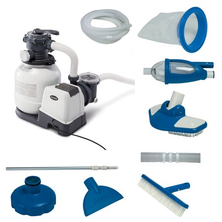 Intex 2100 GPH Above Ground Pool Sand Filter Pump w/ Deluxe Pool Maintenance Kit 350 Gph Pump Kit