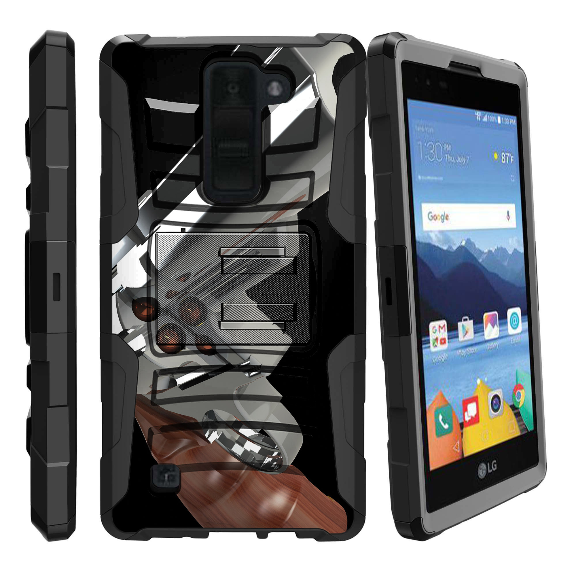 LG K8V and VS500 Miniturtle® Clip Armor Dual Layer Case Rugged Exterior with Built in Kickstand + Holster - Assault Gun