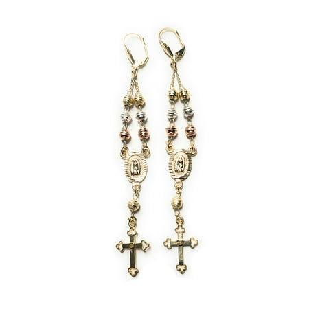 14KT GP GUADALUPE VIRGIN MARY TRI-COLOR ROSARY EARRINGS (CROSS STYLE MAY VARY) Style Cross Earrings