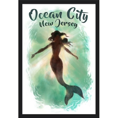 Ocean city new jersey mermaid underwater lantern press artwork ocean city new jersey mermaid underwater lantern press artwork 24x36 giclee art print gallery framed black wood walmart gumiabroncs Image collections