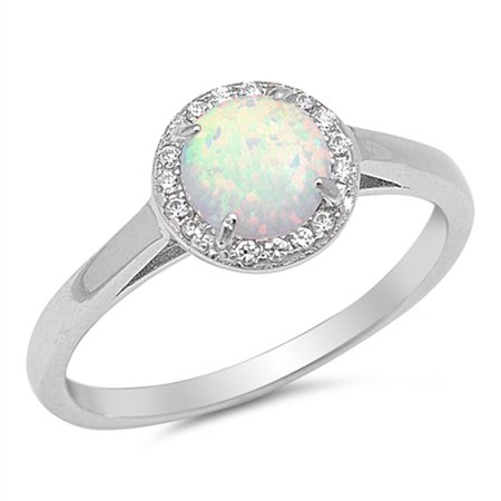CHOOSE YOUR COLOR Round White Simulated Opal Halo Wedding Ring New .925 Sterling Silver Band