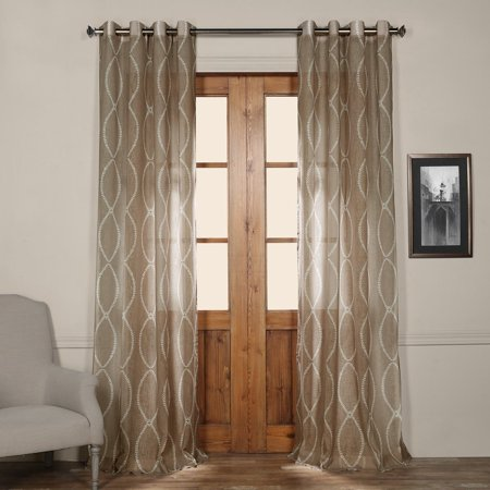 Exclusive Fabrics  Grecian Taupe Printed Faux Linen Sheer Grommet Curtain Panel