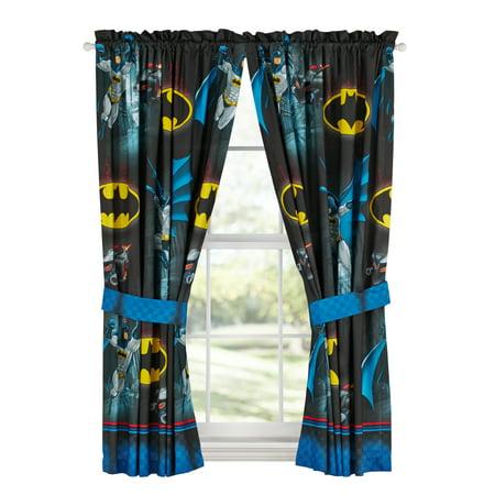Batman Kids Bedroom Curtain Panel Set, Set of 2, 63-inch L 2 Curtains Panels Drapes