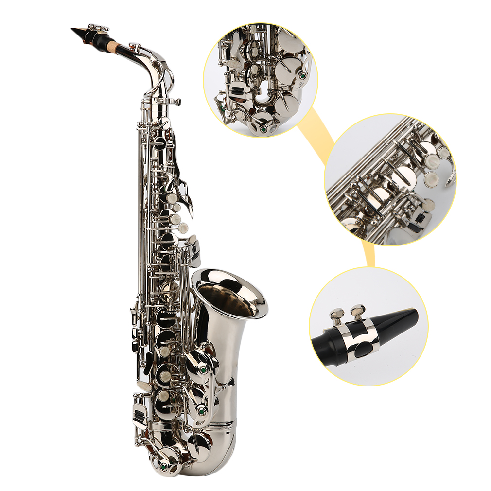 Black Nickel Plated Bass Body Eb Alto Saxophone Sax Set With Tuner + Case Set by