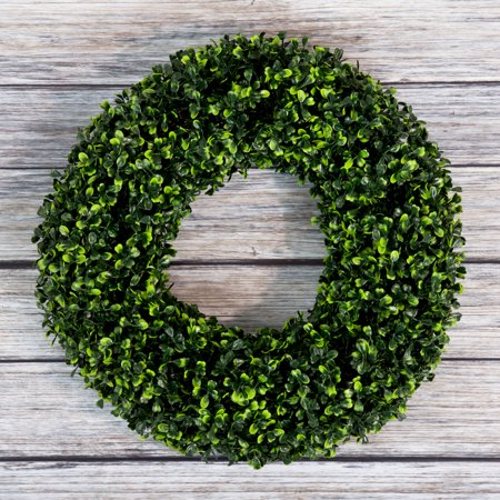Boxwood Wreath, Artificial Wreath for the Front Door by Pure Garden, Home Decor, UV Resistant 16.5 Inches Round ()
