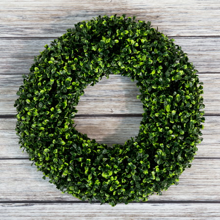 Fake Boxwood Wreath (Boxwood Wreath, Artificial Wreath for the Front Door by Pure Garden, Home Decor, UV Resistant 16.5 Inches)