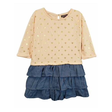 Long Sleeve French Terry & Denim Ruffle Dress (Baby Girls)](Denim Girls Dress)