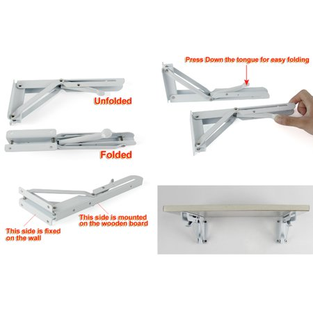 "2 Pcs 14"" Metal Release Catch Support Bench Table Folding Shelf Bracket White - image 1 of 5"