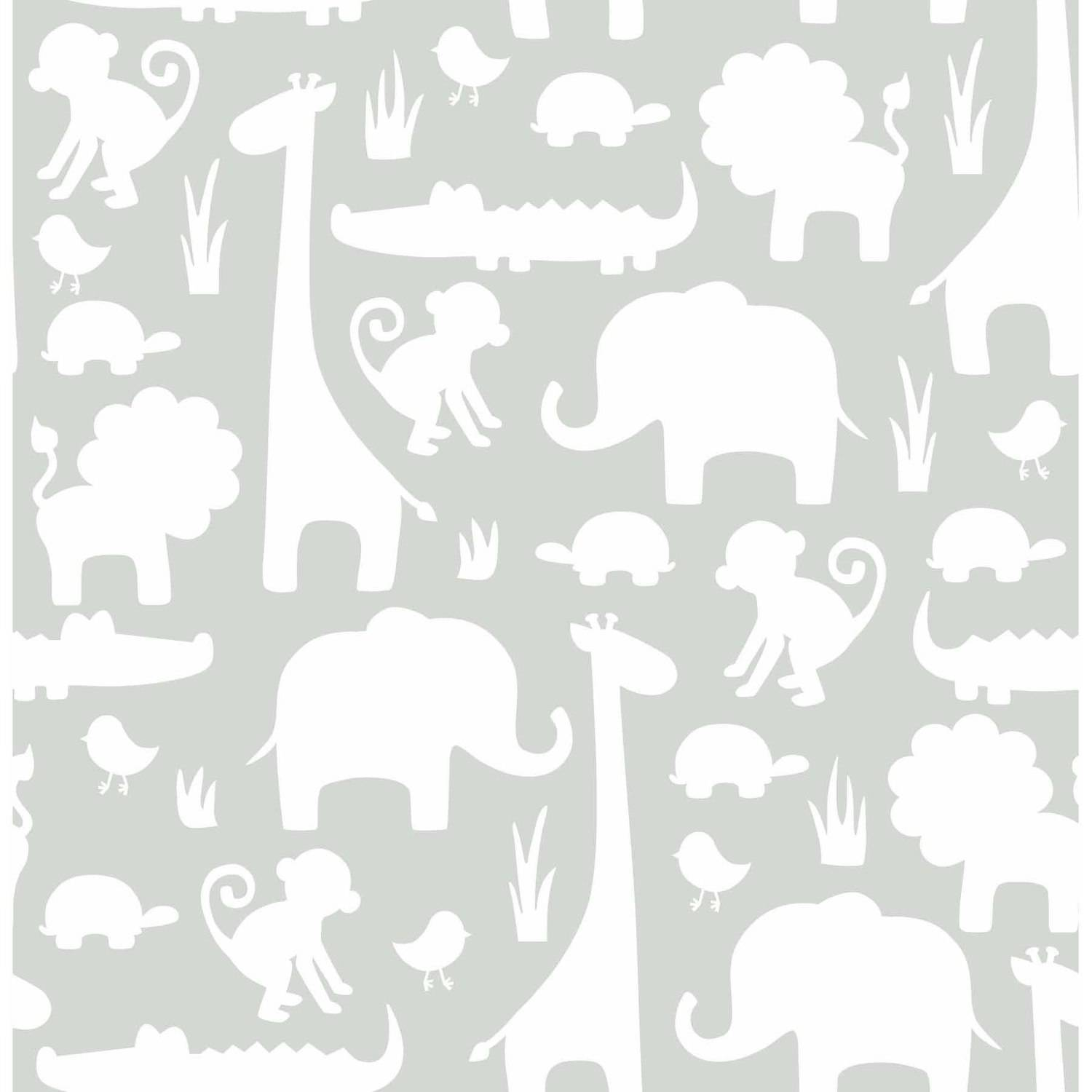 """NuWallpaper Gray """"It's A Jungle In Here"""" Peel and Stick Wallpaper by Brewster"""