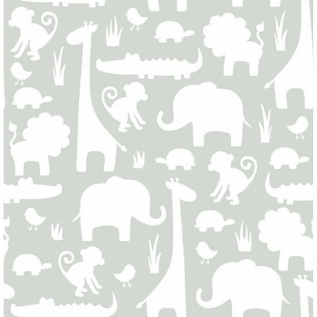 NuWallpaper Grey Its A Jungle In Here Peel & Stick Wallpaper