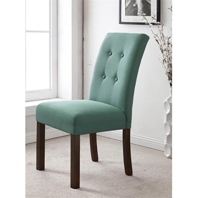 Kinfine K6378-F1374 Four button Tufted Parson Chair, Aqua Textured by