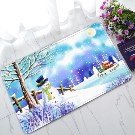 Classroom Door Ideas For Winter (YKCG Christmas Snowman under Tree Winter Snow Scene Doormat Indoor/Outdoor/Bathroom Doormat 30x18)