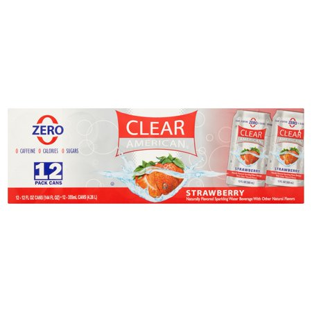 (2 Pack) Clear American Sparkling Water, Strawberry, 12 Fl Oz, 12