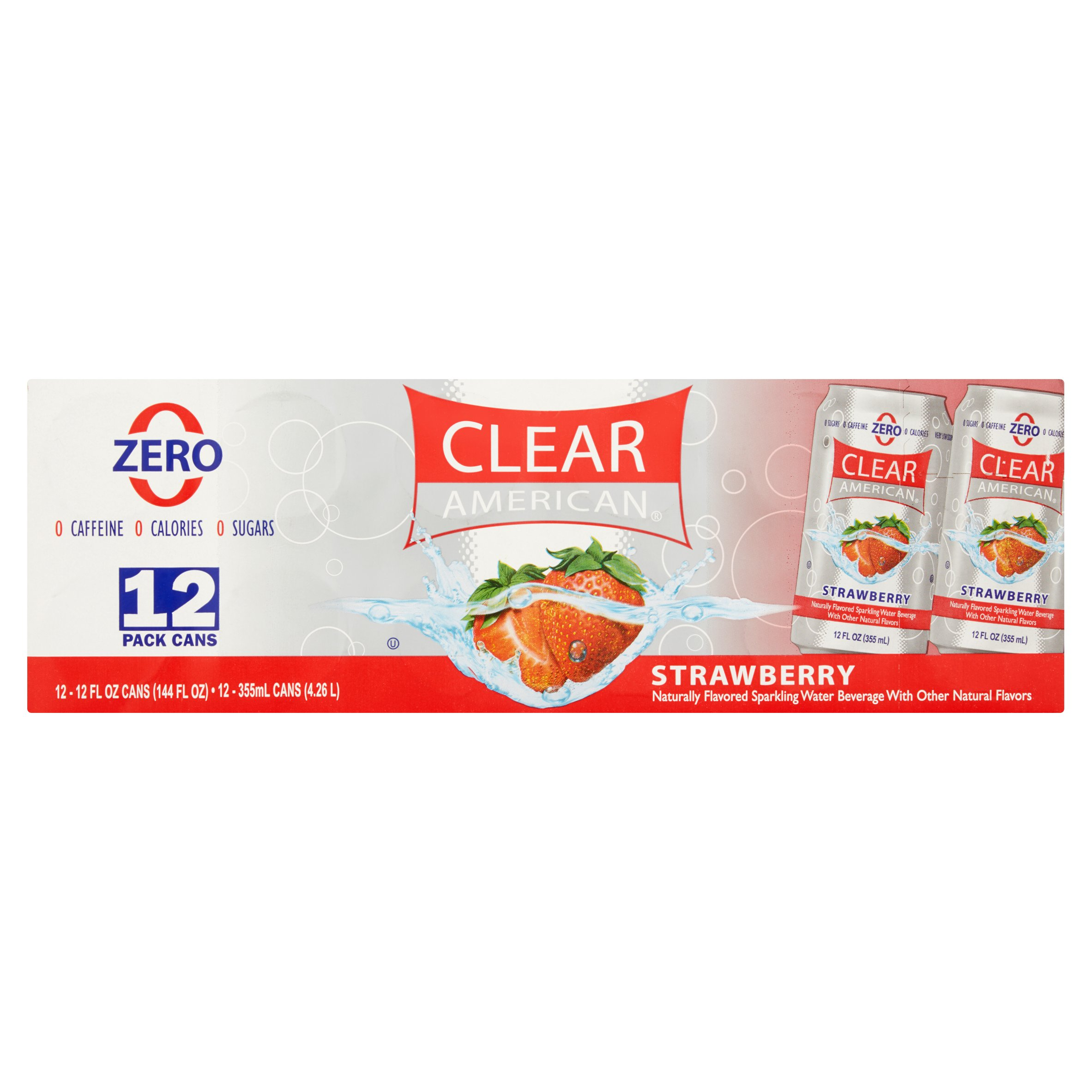 Clear American Sparkling Water, Strawberry, 12 Fl Oz, 12 Count
