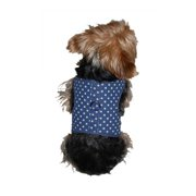 Blue Pet Dog Puppy Cute Poly Cotton Harness with Leash Chain Strap Rope Clothes Apparel - Small (Holiday Christmas Gift for Pet)