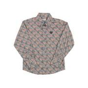 Cinch Western Shirt Boys Kids L/S Print Weave Pocket Gray MTW7060127