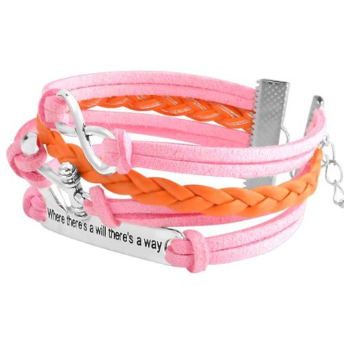 Zodaca Fashion Leather Cute Infinity Charm Bracelet Jewelry Silver lots Pink/Orange Idiom Plate