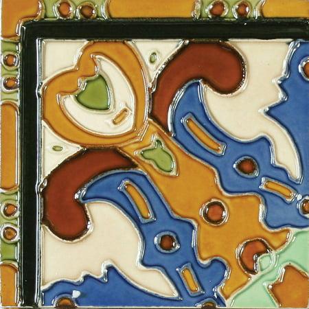 "Solistone Figuras 6"" x 6"" Hand-Painted Ceramic Deco Wall Tile (Price per Case of 10)"