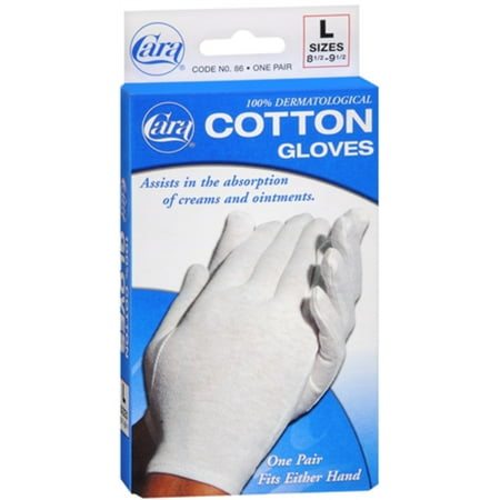 6 Pack - Cara 100% Dermatological Cotton Gloves Large 1 Pair