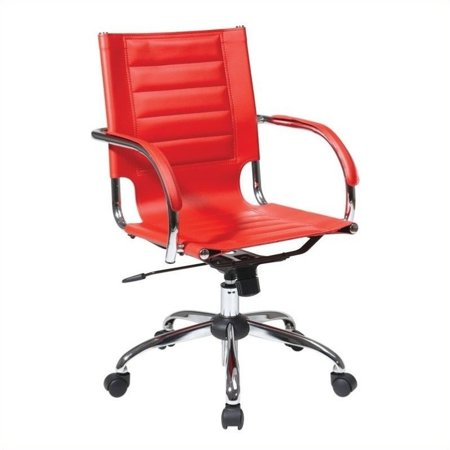 Avenue Six Trinidad Office Chair With Fixed Padded Arms and Chrome in Red