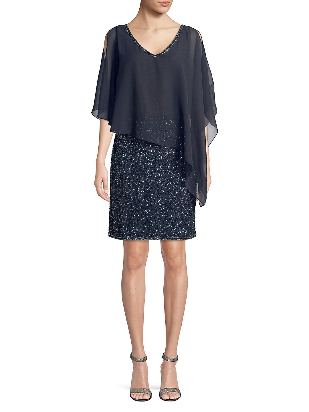Petite Embellished Asymmetrical Popover Dress