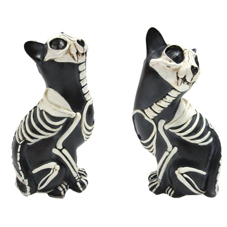Set of Two Day Of The Dead Bone Skeleton Cats Statue 6